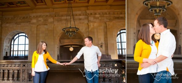 Robertshaw Engagement at Kansas City's Union Station and Loose Park. Photos by Kansas City and Destination Wedding and Lifestyle Portrait Photographers ©Kevin Ashley Photography